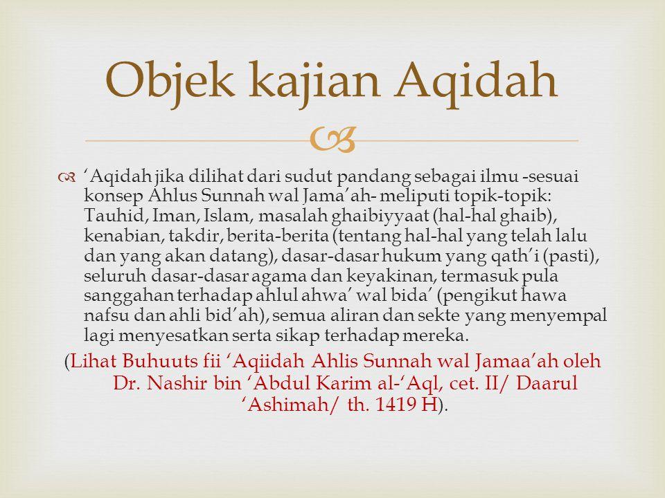   'Aqidah jika dilihat dari sudut pandang sebagai ilmu -sesuai konsep Ahlus Sunnah wal Jama'ah- meliputi topik-topik: Tauhid, Iman, Islam, masalah g