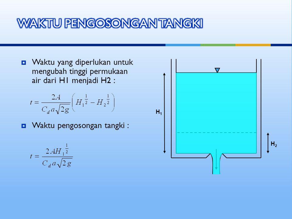  Waktu yang diperlukan untuk mengubah tinggi permukaan air dari H1 menjadi H2 :  Waktu pengosongan tangki : H1H1 H2H2