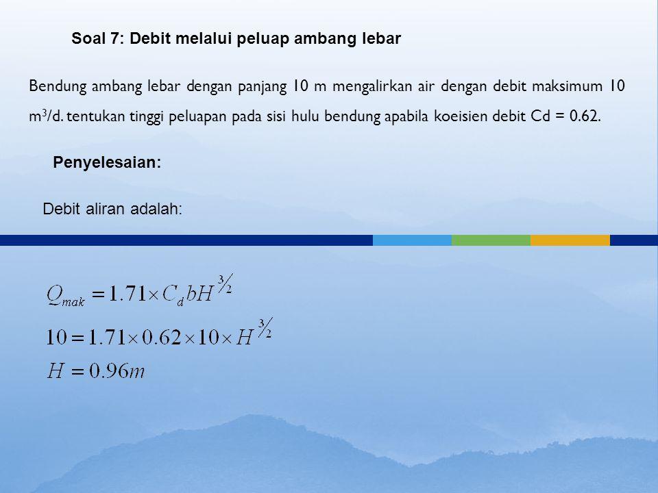 Bendung ambang lebar dengan panjang 10 m mengalirkan air dengan debit maksimum 10 m 3 /d. tentukan tinggi peluapan pada sisi hulu bendung apabila koei