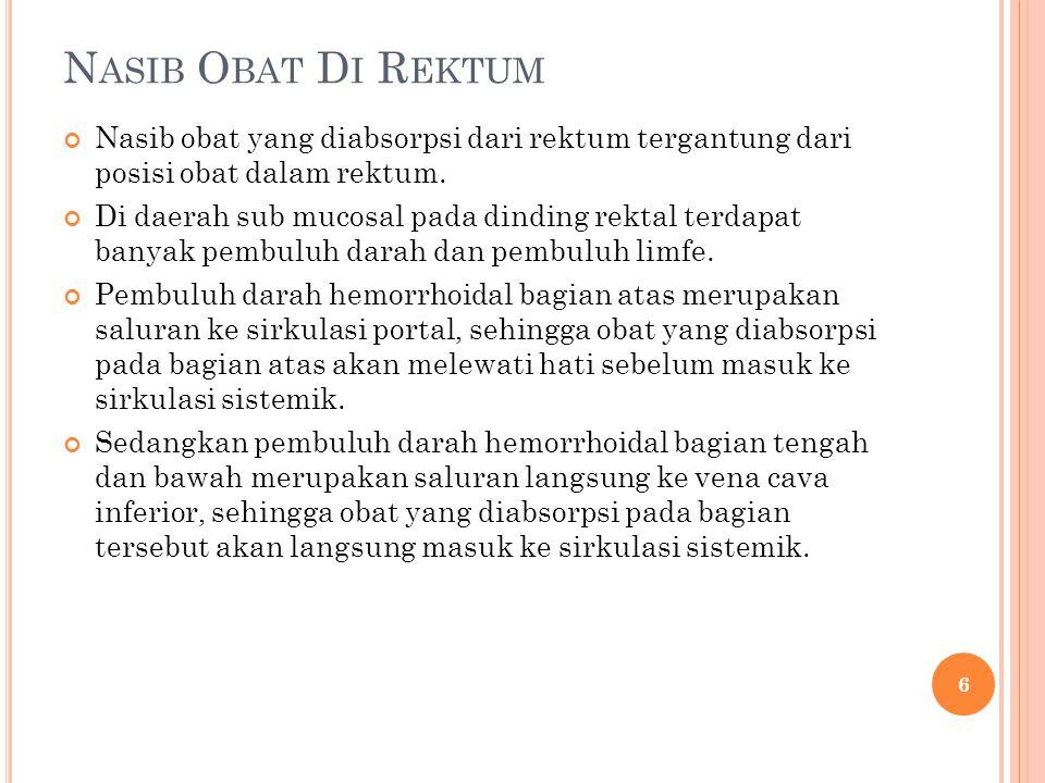 N ASIB O BAT D I R EKTUM Nasib obat yang diabsorpsi dari rektum tergantung dari posisi obat dalam rektum. Di daerah sub mucosal pada dinding rektal te