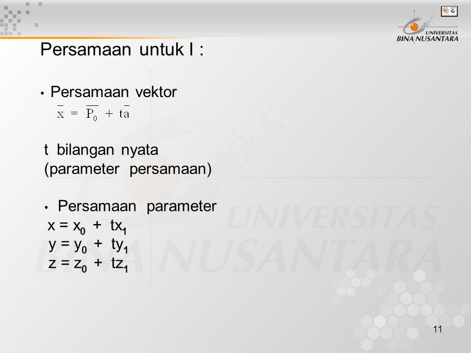 11 Persamaan untuk I : • Persamaan vektor t bilangan nyata (parameter persamaan) • Persamaan parameter x = x 0 + tx 1 y = y 0 + ty 1 z = z 0 + tz 1