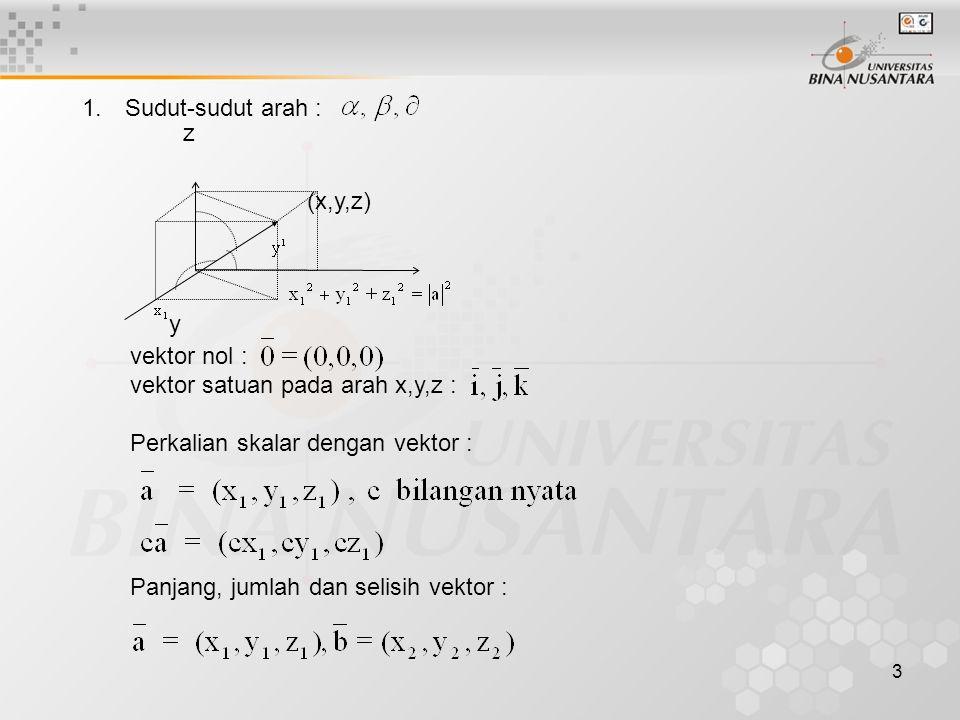 3 1. Sudut-sudut arah : z (x,y,z) y vektor nol : vektor satuan pada arah x,y,z : Perkalian skalar dengan vektor : Panjang, jumlah dan selisih vektor :