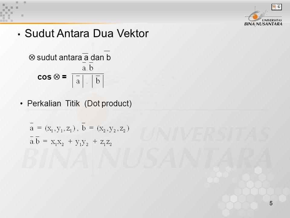 5 • Sudut Antara Dua Vektor  sudut antara a dan b cos  = • Perkalian Titik (Dot product)