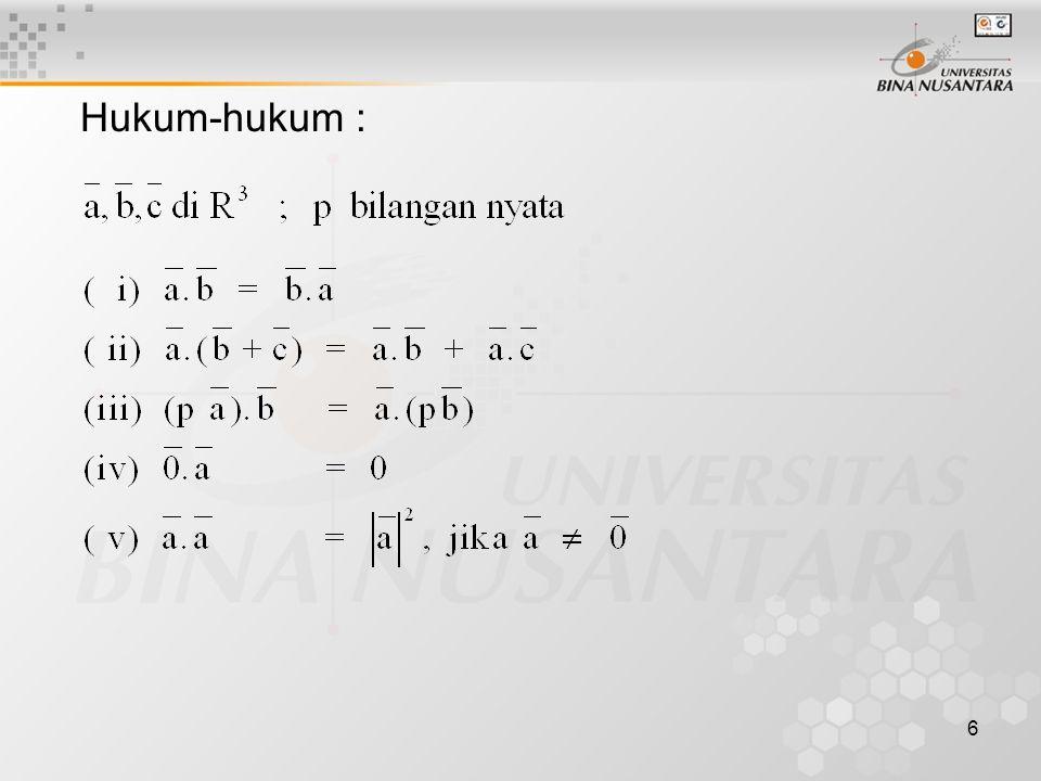 27 •Soal-soal Persamaan Bidang : 1.Tentukan persamaan bidang α yang melalui A (3,2,1), B(1,1,-2), C(2,-1,3).