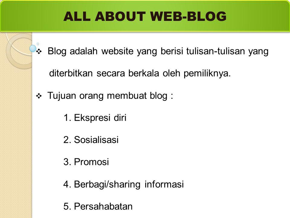  Blog adalah website yang berisi tulisan-tulisan yang diterbitkan secara berkala oleh pemiliknya.  Tujuan orang membuat blog : 1. Ekspresi diri 2. S