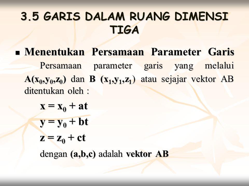 3.5 GARIS DALAM RUANG DIMENSI TIGA  Menentukan Persamaan Parameter Garis Persamaan parameter garis yang melalui A(x 0,y 0,z 0 ) dan B (x 1,y 1,z 1 )