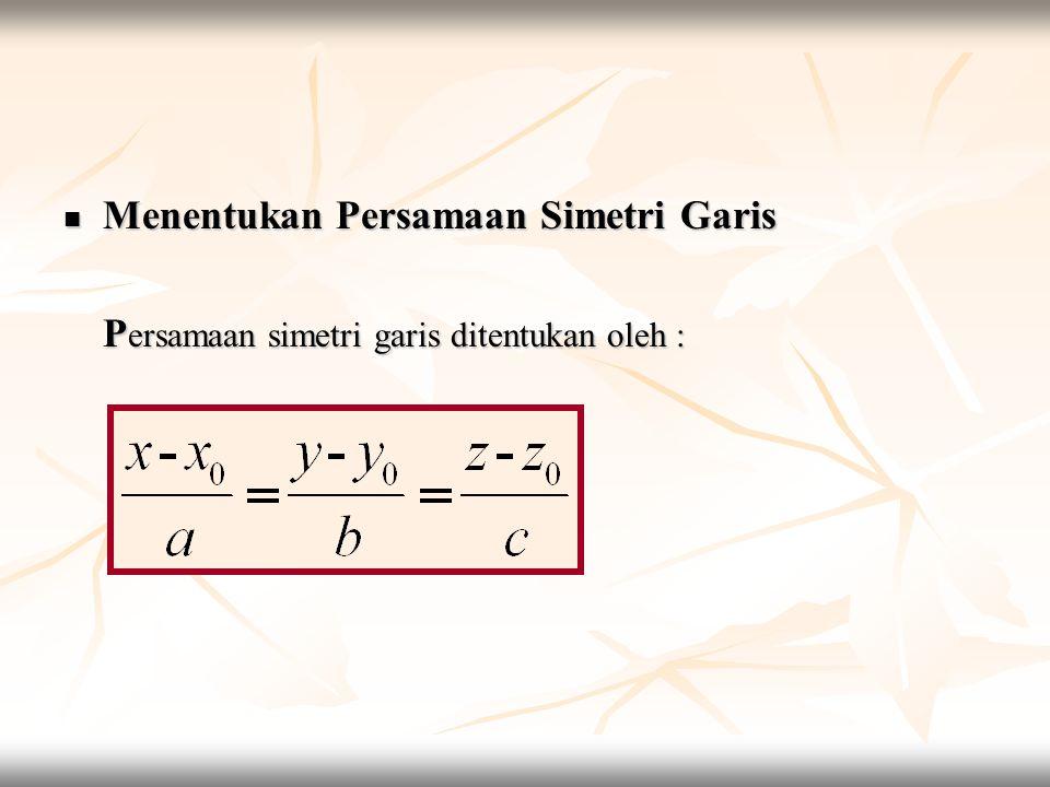  Menentukan Persamaan Simetri Garis P ersamaan simetri garis ditentukan oleh :