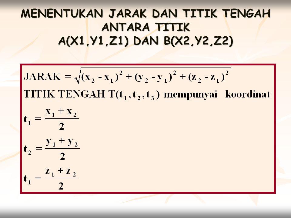 3.2 VEKTOR DIMENSI TIGA  Menentukan vektor yang diwakili oleh titik- titik yang diberikan A(x,y,z) vektor a = xi + yj + zk A(x 1, y 1, z 1 ) dan B(x 2, y 2, z 2 ) vektor AB = (x 2 -x 1 )i + (y 2 -y 1 )j + (z 2 -z 1 )k