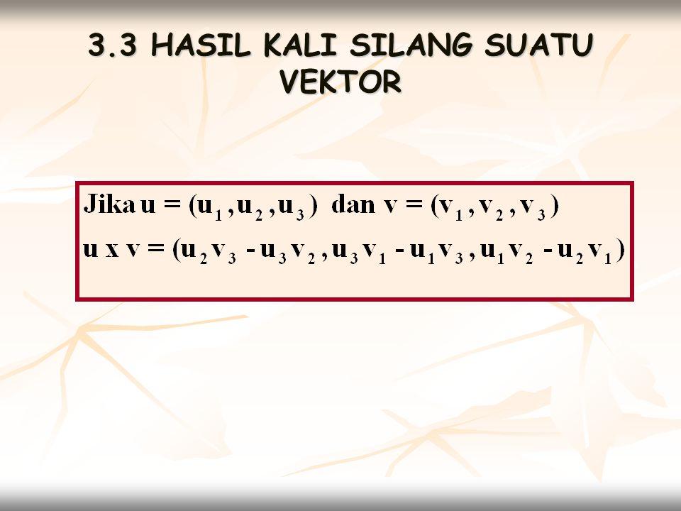 3.4 BIDANG DALAM RUANG DIMENSI TIGA  Menentukan persamaan bidang yang melalui titik-titik yang diberikan Misalkan titik-titik yang diberikan P 1 (x 1,y 1,z 1 ) P2(x 2, y 2, z 2 ) dan P 3 (x 3, y 3, z 3 ) maka persamaan bidang ditentukan dengan cara :  Tentukan u = P 2 P 1 dan v = P 2 P 3  Tentukan u x v = (a,b,c)  Persamaan Bidang a(x-x 2 ) + b(y-y 2 ) + c(z-z 2 ) = 0