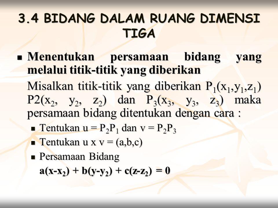  Vektor Satuan Vektor satuan ditentukan oleh persamaan bidang Ax + By + Cz = D yang merupakan bentuk sederhana dari a(x-x 2 ) + b(y-y 2 ) + c(z-z 2 ) = 0 yaitu
