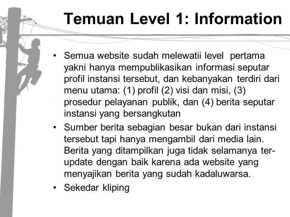 Temuan Level 1: Information •Semua website sudah melewatii level pertama yakni hanya mempublikasikan informasi seputar profil instansi tersebut, dan k