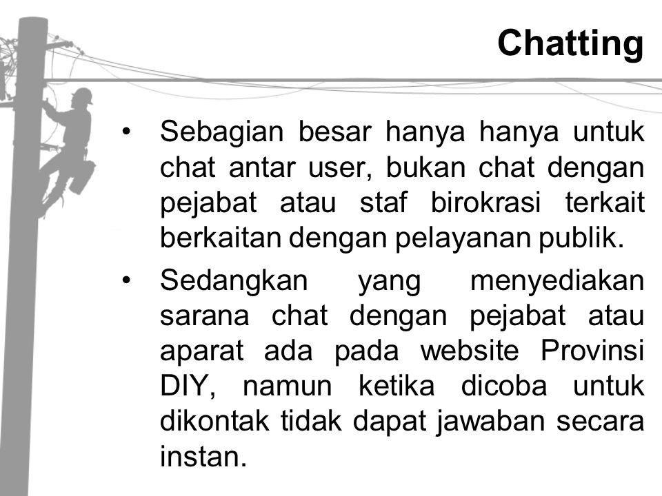 Chatting •Sebagian besar hanya hanya untuk chat antar user, bukan chat dengan pejabat atau staf birokrasi terkait berkaitan dengan pelayanan publik. •