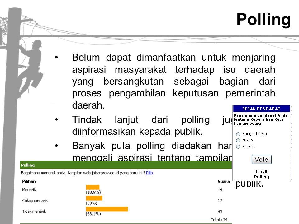 Polling •Belum dapat dimanfaatkan untuk menjaring aspirasi masyarakat terhadap isu daerah yang bersangkutan sebagai bagian dari proses pengambilan kep