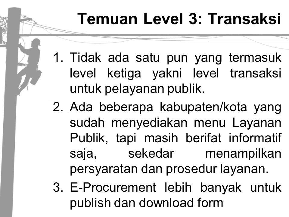 Temuan Level 3: Transaksi 1.Tidak ada satu pun yang termasuk level ketiga yakni level transaksi untuk pelayanan publik. 2.Ada beberapa kabupaten/kota