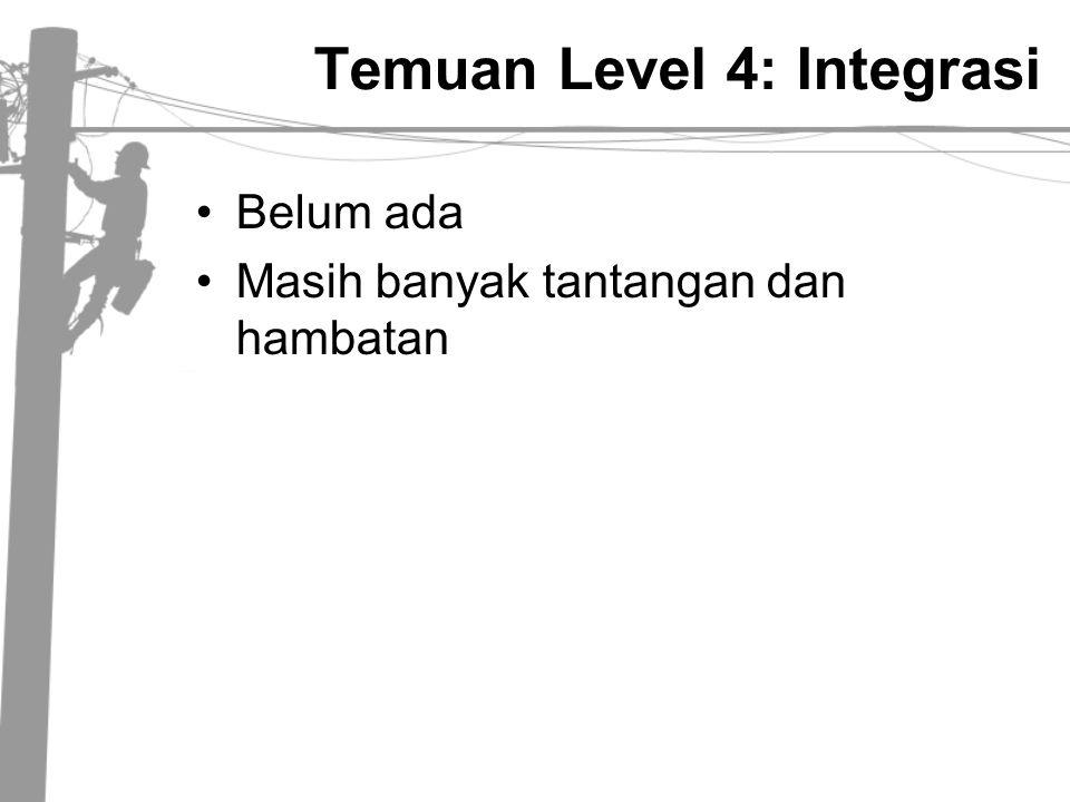 Temuan Level 4: Integrasi •Belum ada •Masih banyak tantangan dan hambatan