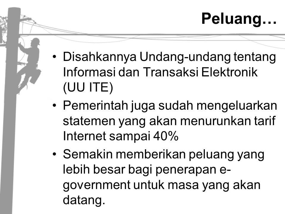 Peluang… •Disahkannya Undang-undang tentang Informasi dan Transaksi Elektronik (UU ITE) •Pemerintah juga sudah mengeluarkan statemen yang akan menurun