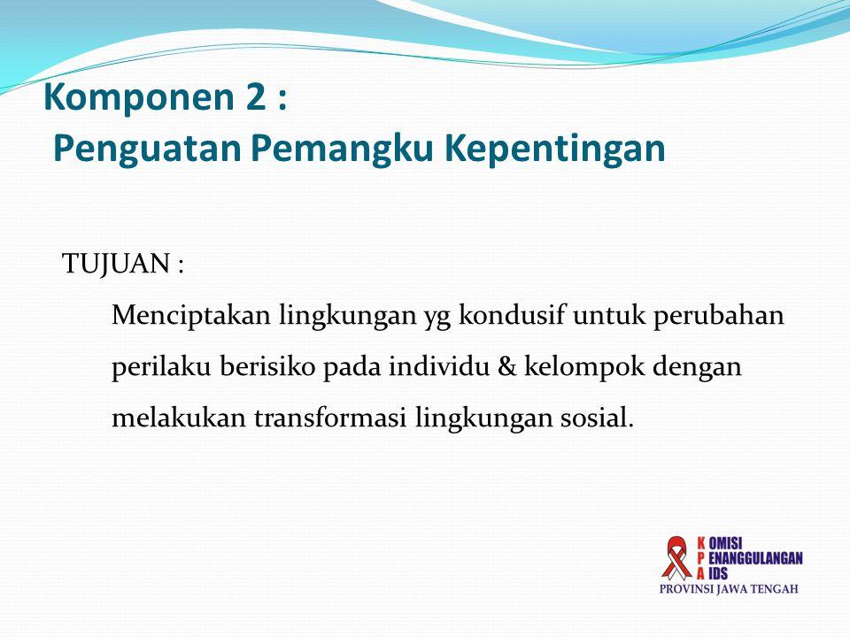 Komponen 2 : Penguatan Pemangku Kepentingan TUJUAN : Menciptakan lingkungan yg kondusif untuk perubahan perilaku berisiko pada individu & kelompok den