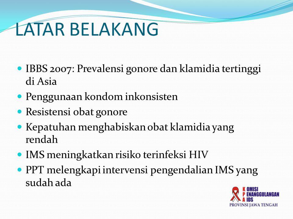 LATAR BELAKANG  IBBS 2007: Prevalensi gonore dan klamidia tertinggi di Asia  Penggunaan kondom inkonsisten  Resistensi obat gonore  Kepatuhan menghabiskan obat klamidia yang rendah  IMS meningkatkan risiko terinfeksi HIV  PPT melengkapi intervensi pengendalian IMS yang sudah ada