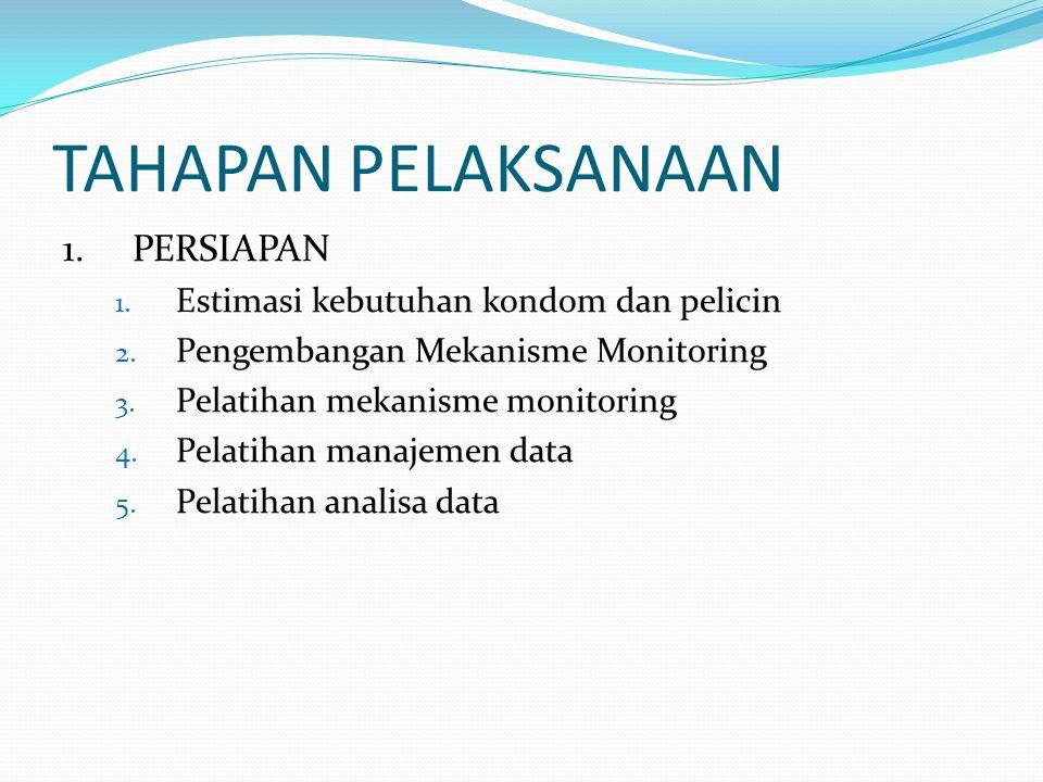 TAHAPAN PELAKSANAAN 1.PERSIAPAN 1. Estimasi kebutuhan kondom dan pelicin 2. Pengembangan Mekanisme Monitoring 3. Pelatihan mekanisme monitoring 4. Pel