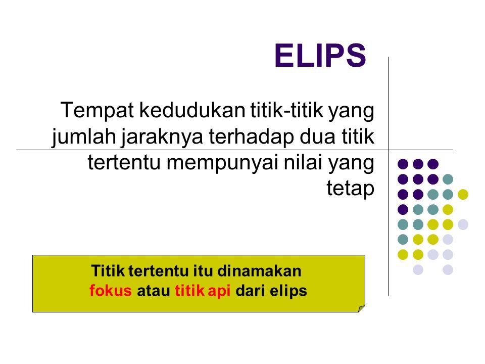 ELIPS Tempat kedudukan titik-titik yang jumlah jaraknya terhadap dua titik tertentu mempunyai nilai yang tetap Titik tertentu itu dinamakan fokus atau titik api dari elips