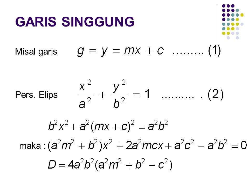 GARIS SINGGUNG Misal garis Pers. Elips maka :