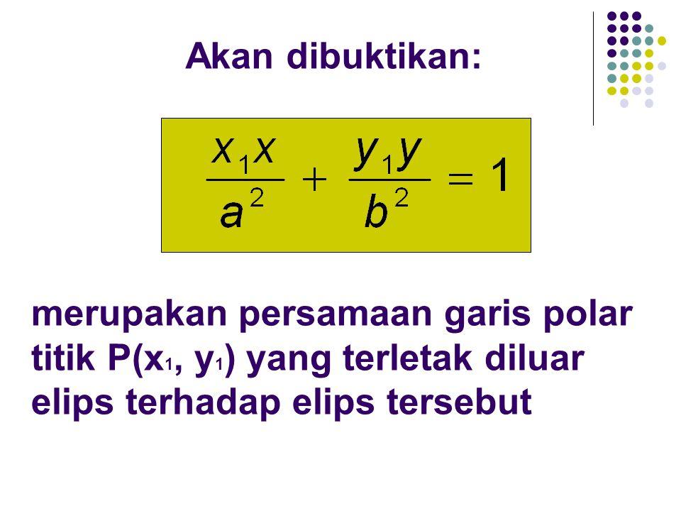 Akan dibuktikan: merupakan persamaan garis polar titik P(x 1, y 1 ) yang terletak diluar elips terhadap elips tersebut