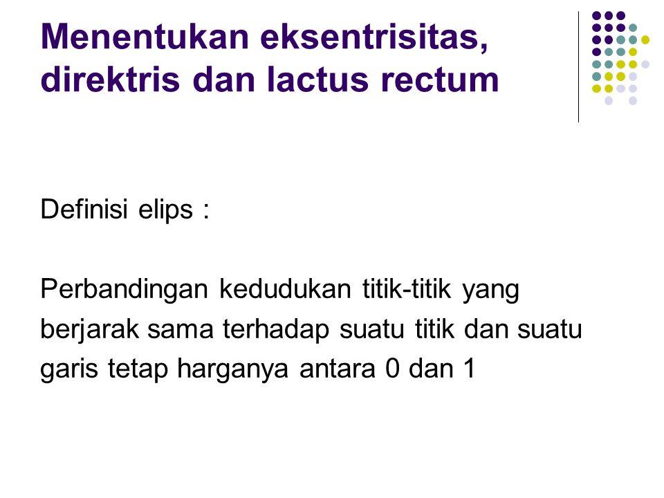 Menentukan eksentrisitas, direktris dan lactus rectum Definisi elips : Perbandingan kedudukan titik-titik yang berjarak sama terhadap suatu titik dan suatu garis tetap harganya antara 0 dan 1