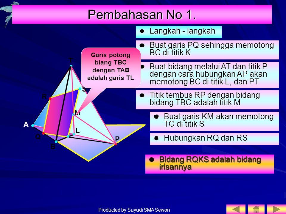 Producted by Suyudi SMA Sewon LLLLangkah - langkah T R A B C Q BBBBuat garis PQ sehingga memotong BC di titik K  Buat bidang melalui AT dan t