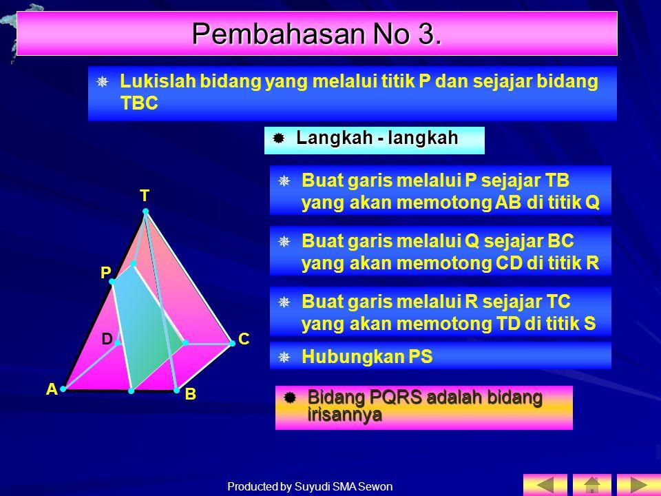 Producted by Suyudi SMA Sewon  Lukislah bidang yang melalui titik P dan sejajar bidang TBC T  Buat garis melalui P sejajar TB yang akan memotong AB