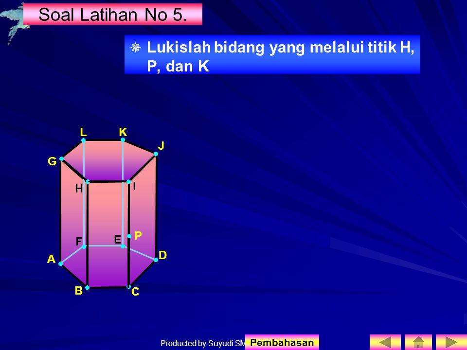 Producted by Suyudi SMA Sewon Soal Latihan No 5.   Lukislah bidang yang melalui titik H, P, dan K I H F E J A B C D G LK P Pembahasan