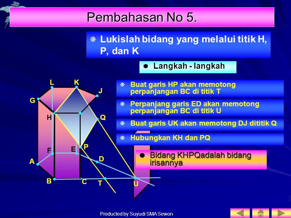 Producted by Suyudi SMA Sewon   Lukislah bidang yang melalui titik H, P, dan K I H F E J A B C D G LK P Q Pembahasan No 5. LLLLangkah - langkah