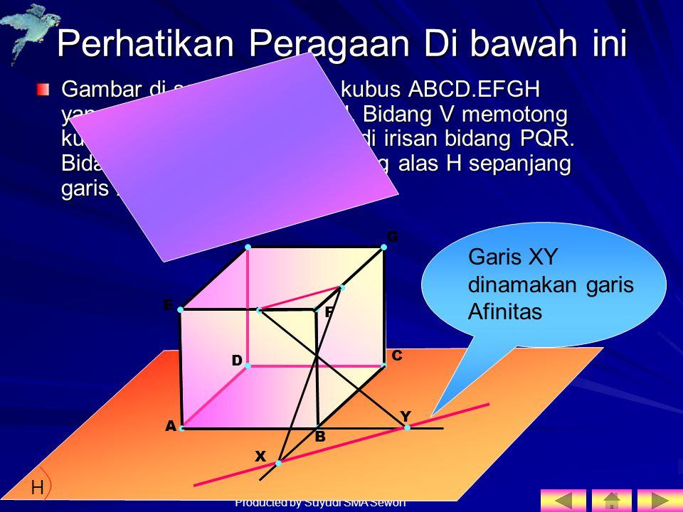 Producted by Suyudi SMA Sewon Perhatikan Peragaan Di bawah ini Gambar di samping adalah kubus ABCD.EFGH yang alasnya pada bidang H. Bidang V memotong