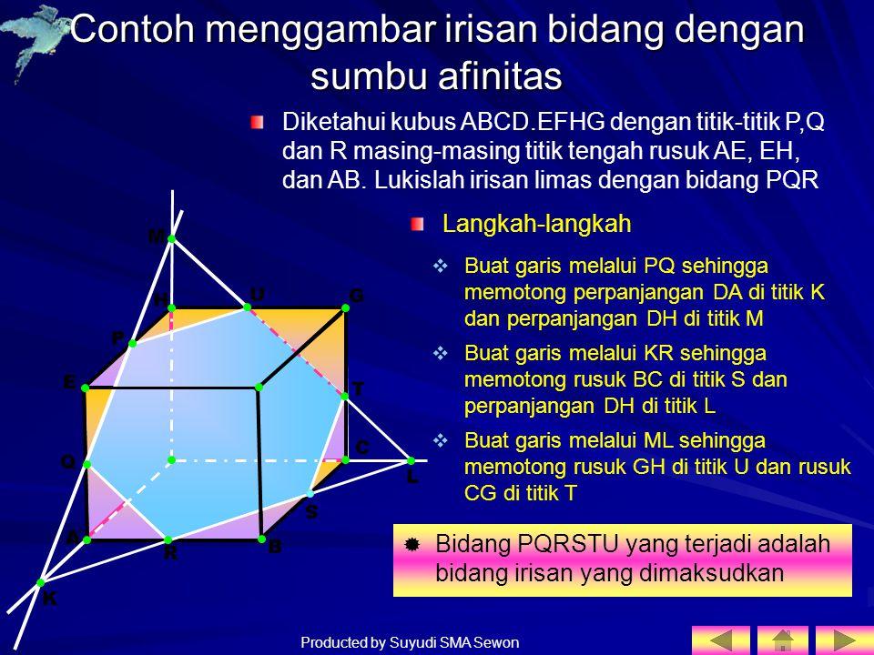 Producted by Suyudi SMA Sewon H A E G F D Contoh menggambar irisan bidang dengan sumbu afinitas Diketahui kubus ABCD.EFHG dengan titik-titik P,Q dan R