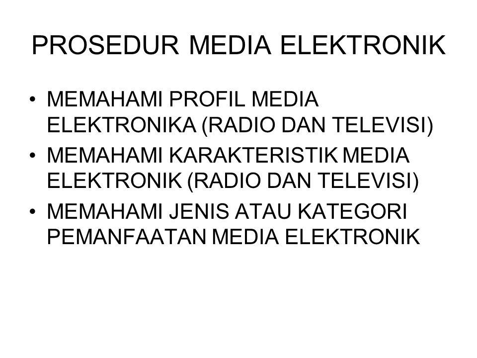 PROSEDUR MEDIA ELEKTRONIK •MEMAHAMI PROFIL MEDIA ELEKTRONIKA (RADIO DAN TELEVISI) •MEMAHAMI KARAKTERISTIK MEDIA ELEKTRONIK (RADIO DAN TELEVISI) •MEMAH