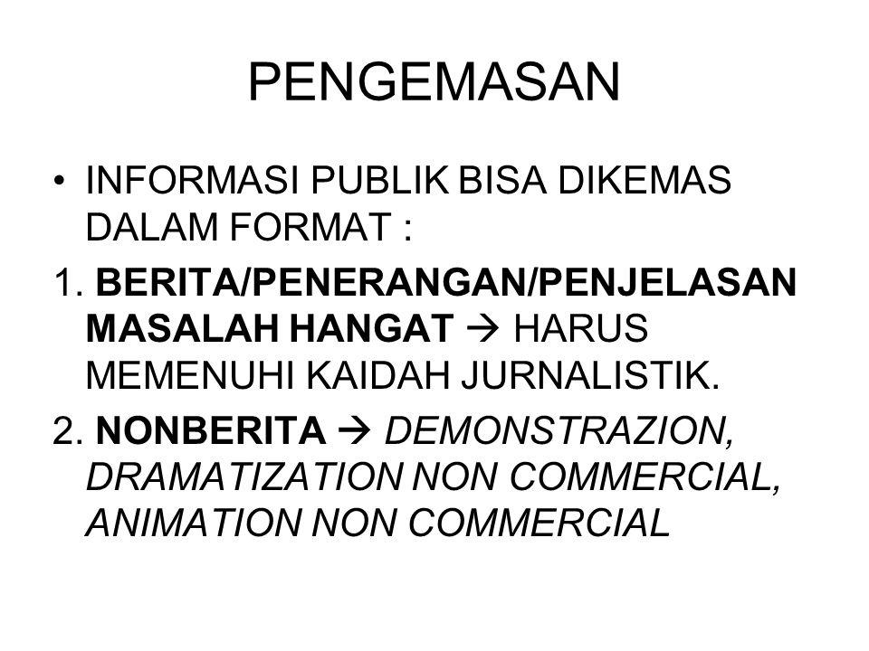 PENGEMASAN •INFORMASI PUBLIK BISA DIKEMAS DALAM FORMAT : 1. BERITA/PENERANGAN/PENJELASAN MASALAH HANGAT  HARUS MEMENUHI KAIDAH JURNALISTIK. 2. NONBER
