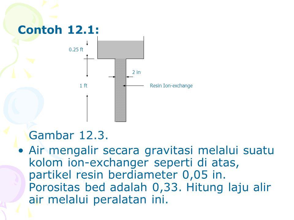 Contoh 12.1: Gambar 12.3. •Air mengalir secara gravitasi melalui suatu kolom ion-exchanger seperti di atas, partikel resin berdiameter 0,05 in. Porosi