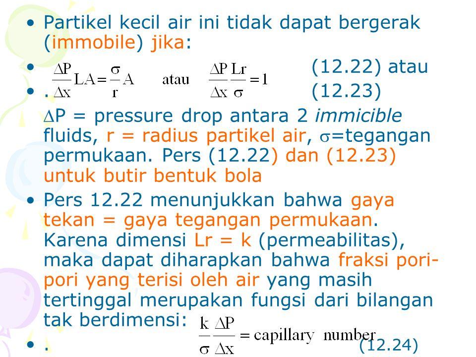 •Partikel kecil air ini tidak dapat bergerak (immobile) jika: •(12.22) atau •.(12.23) P = pressure drop antara 2 immicible fluids, r = radius partike
