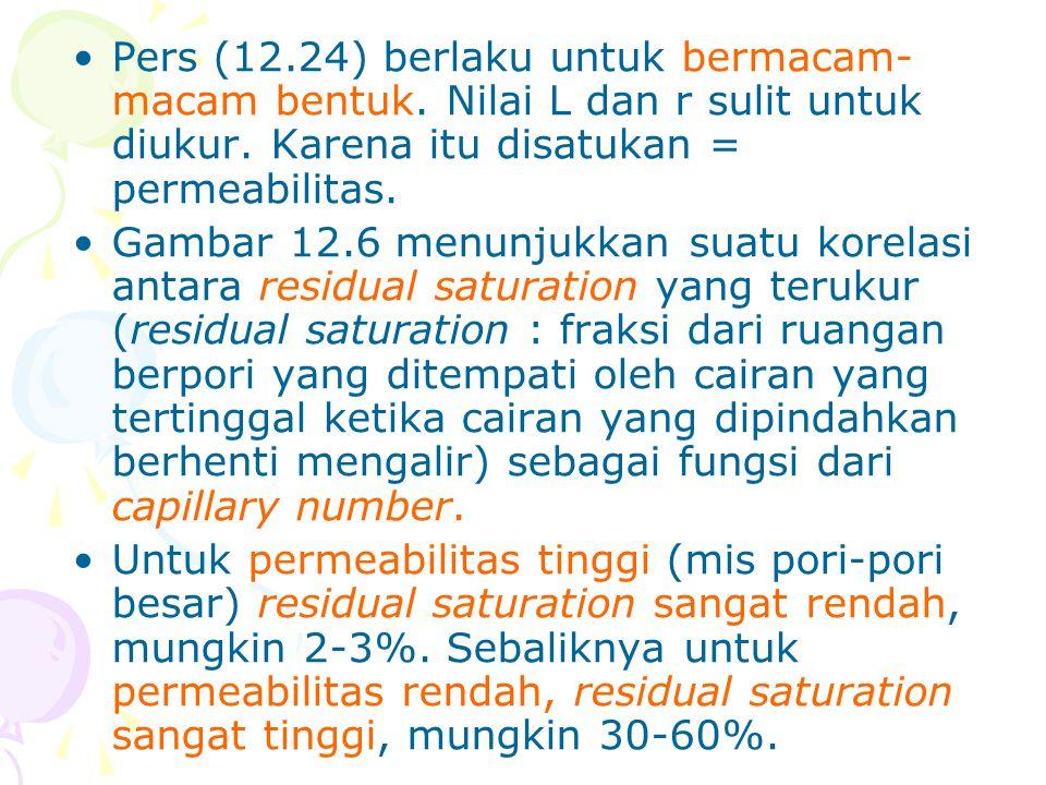 •Pers (12.24) berlaku untuk bermacam- macam bentuk. Nilai L dan r sulit untuk diukur. Karena itu disatukan = permeabilitas. •Gambar 12.6 menunjukkan s
