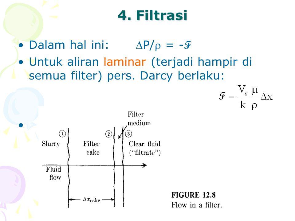 4. Filtrasi •Dalam hal ini:P/ = - F •Untuk aliran laminar (terjadi hampir di semua filter) pers. Darcy berlaku: •