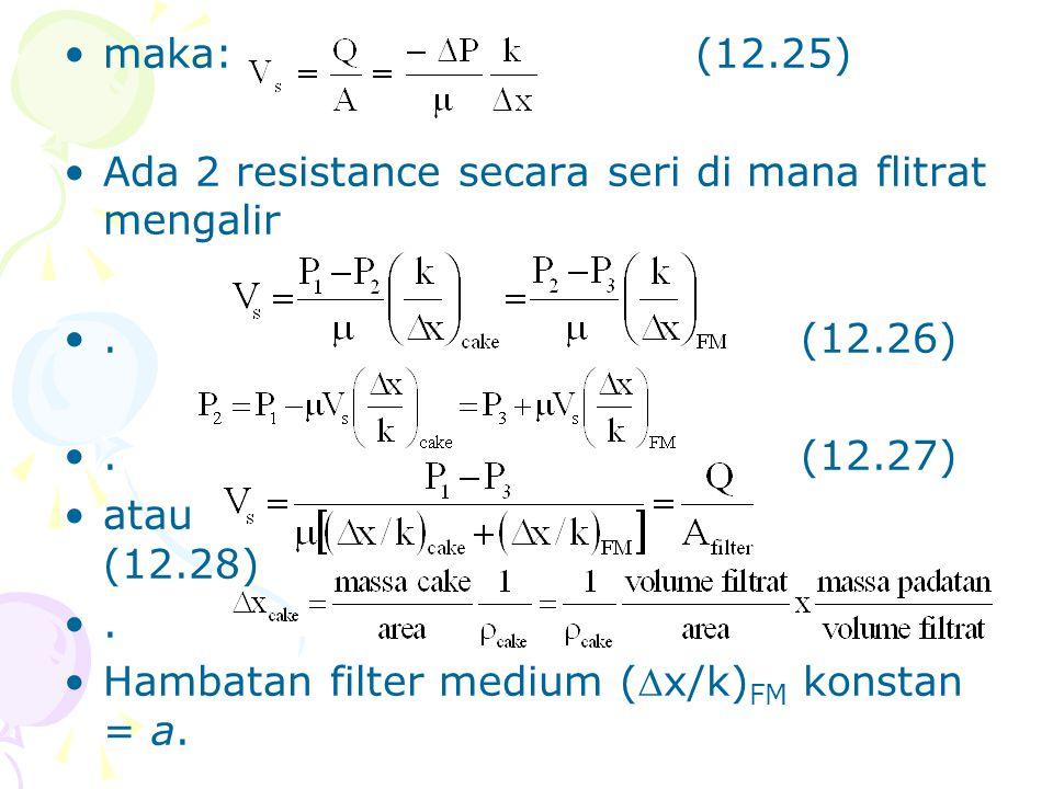 •maka:(12.25) •Ada 2 resistance secara seri di mana flitrat mengalir •.(12.26) •.(12.27) •atau (12.28) •. •Hambatan filter medium (x/k) FM konstan =