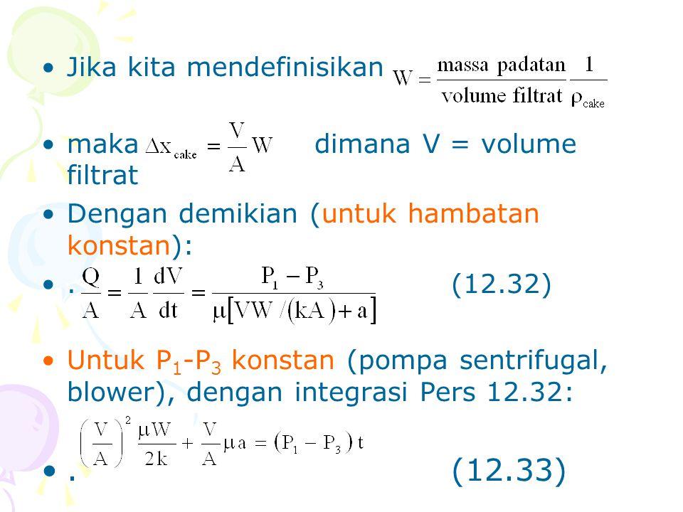 •Jika kita mendefinisikan •makadimana V = volume filtrat •Dengan demikian (untuk hambatan konstan): •.(12.32) •Untuk P 1 -P 3 konstan (pompa sentrifug