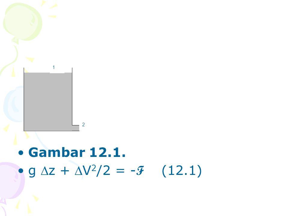 •Gambar 12.1. •g z + V 2 /2 = - F (12.1) 1 2