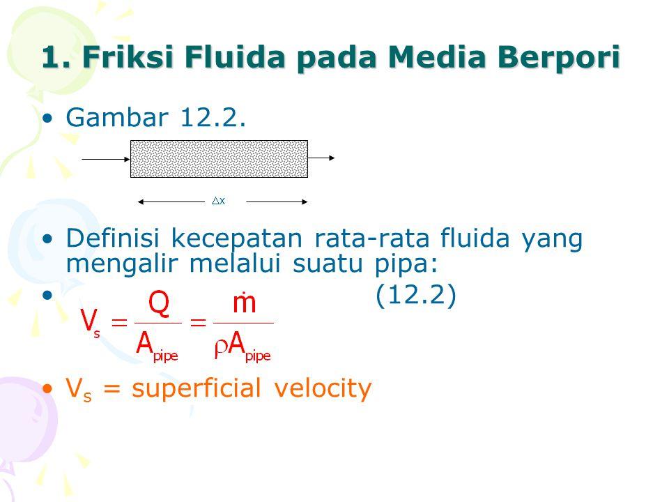 1. Friksi Fluida pada Media Berpori •Gambar 12.2. •Definisi kecepatan rata-rata fluida yang mengalir melalui suatu pipa: •(12.2) •V s = superficial ve