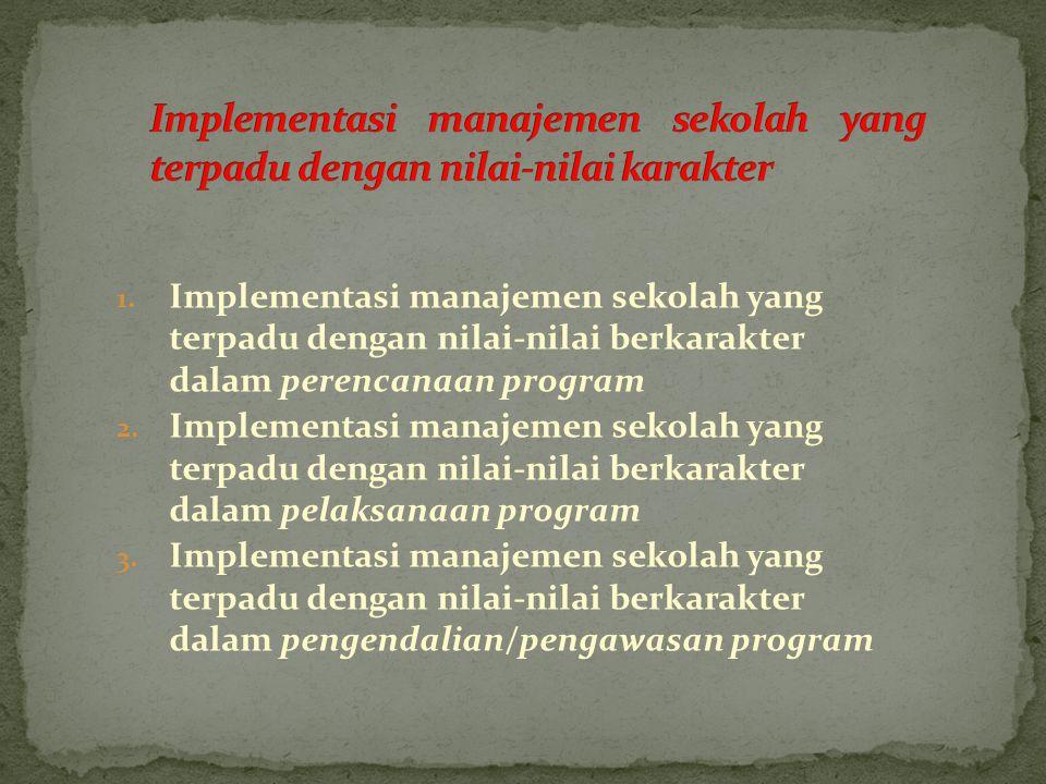 1. Implementasi manajemen sekolah yang terpadu dengan nilai-nilai berkarakter dalam perencanaan program 2. Implementasi manajemen sekolah yang terpadu
