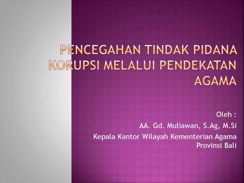 Oleh : AA. Gd. Muliawan, S.Ag, M.Si Kepala Kantor Wilayah Kementerian Agama Provinsi Bali