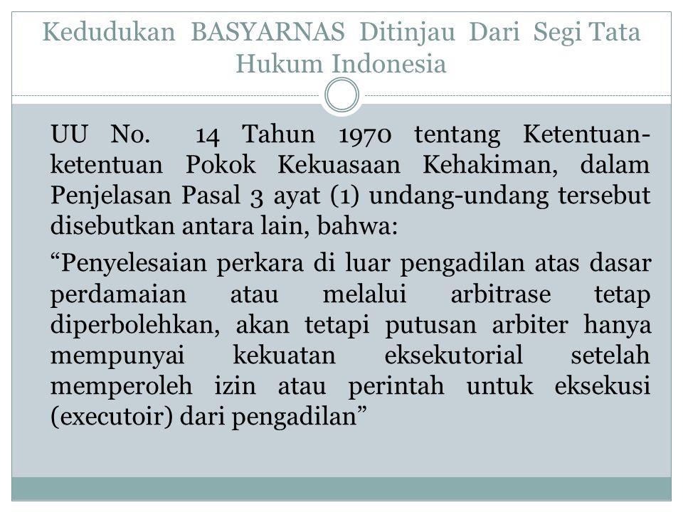 Kedudukan BASYARNAS Ditinjau Dari Segi Tata Hukum Indonesia UU No.