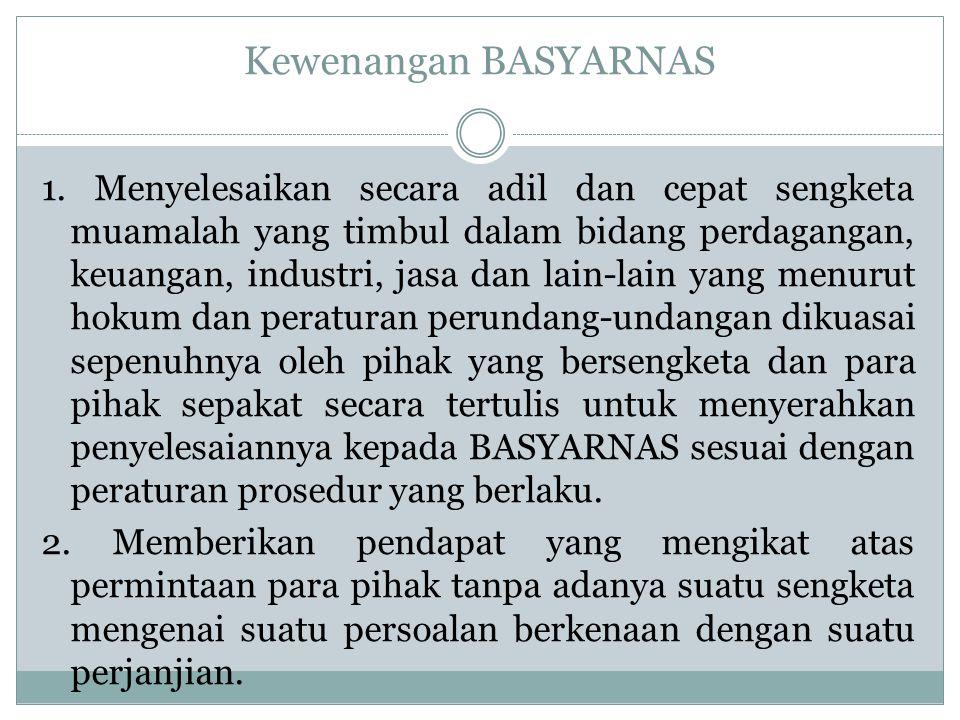 Kewenangan BASYARNAS 1.