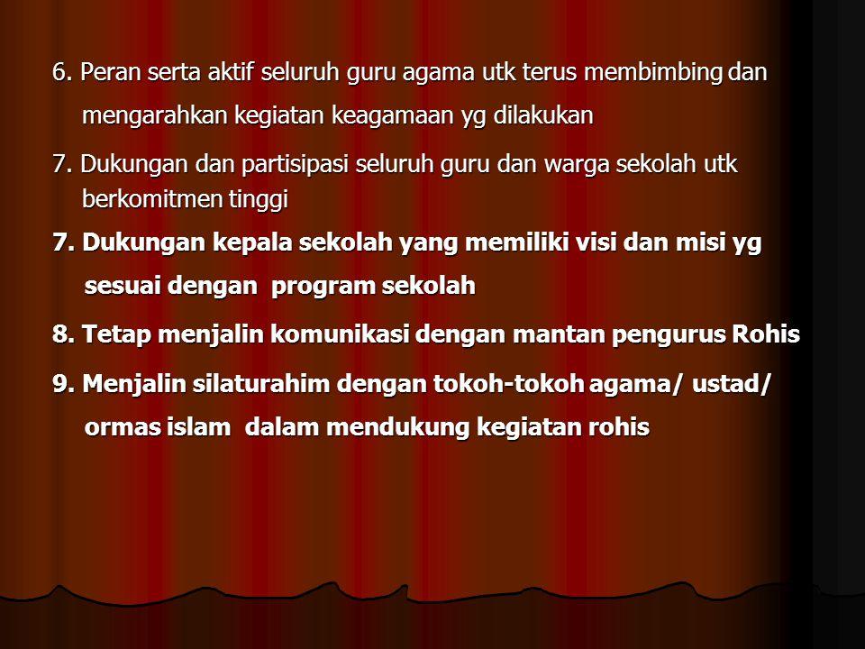  Pelaksanaan Kegiatan Rohis di SMA Negeri 6 Palembang Salaman pagi, tadarusan, taushiah,sholat dhuha, sholat zhuhur berjema'ah, mentoring, gerakan infak, pengajian irama, keputraaan.keputrian, Majelis Taklim, LDS, Bhs Arab, Berpakaian muslim, pesantren ramadhan, khatam qur'an, penyaluran zakat, bakti sosial, kader dai, PHBI, Gerakan infak sadaqah, pemotongan hewan kurban, BTPI.