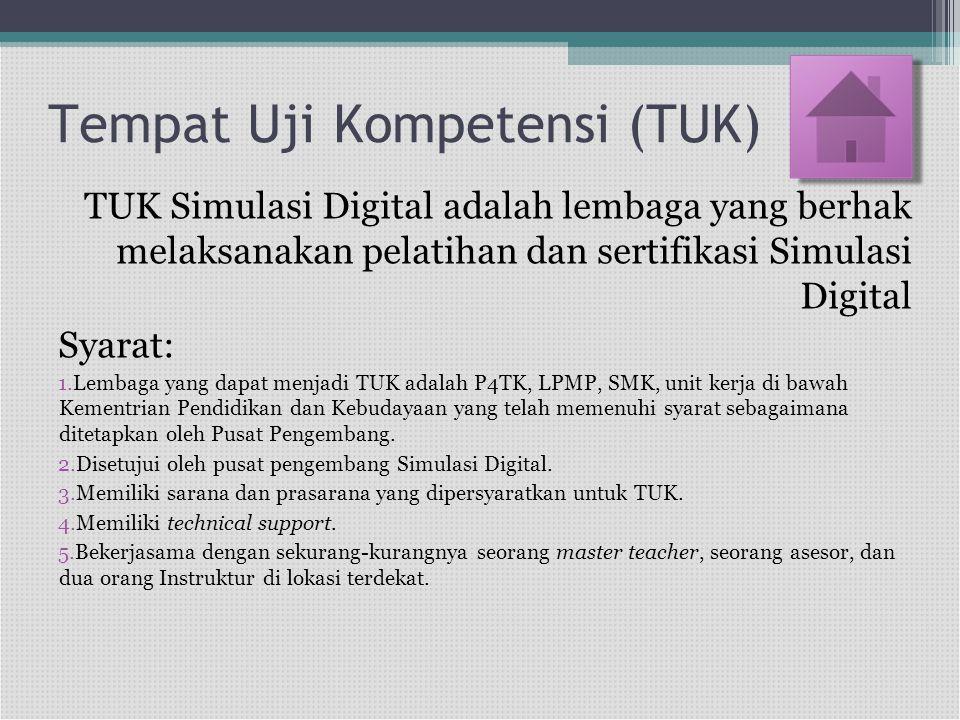 Tempat Uji Kompetensi (TUK) TUK Simulasi Digital adalah lembaga yang berhak melaksanakan pelatihan dan sertifikasi Simulasi Digital Syarat: 1.Lembaga