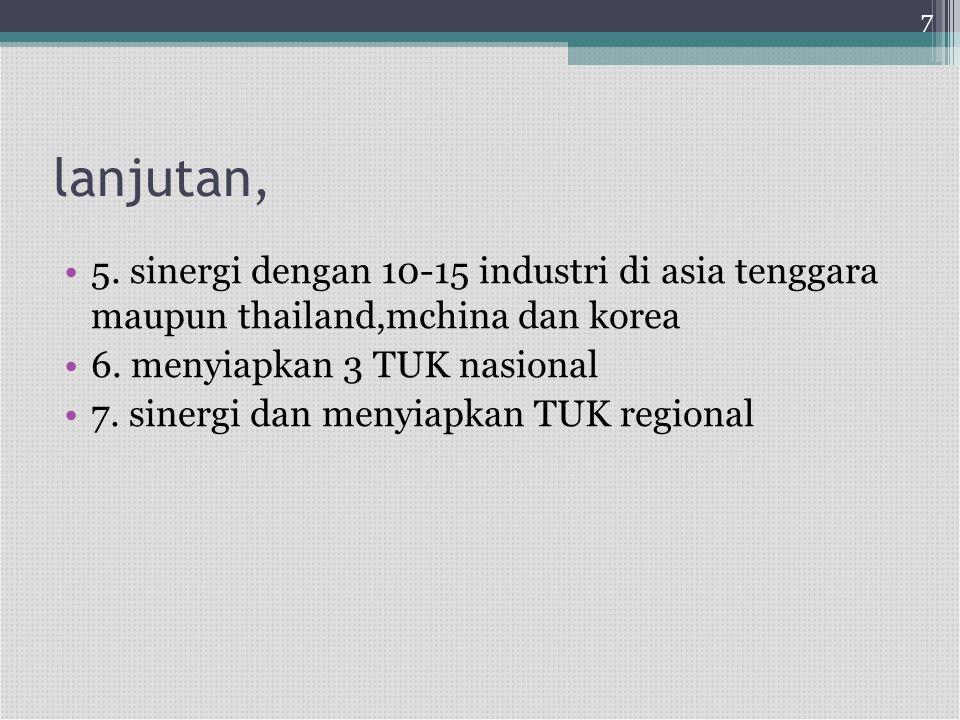 lanjutan, •5. sinergi dengan 10-15 industri di asia tenggara maupun thailand,mchina dan korea •6. menyiapkan 3 TUK nasional •7. sinergi dan menyiapkan
